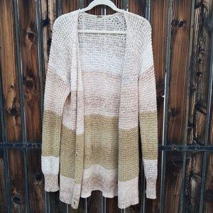 Free People Mohair Tan Long Cardigan Sweater L